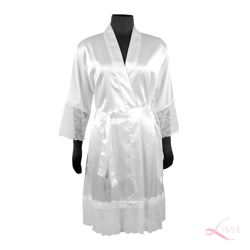White Silk Robe with Lace on Cuffs and Hem