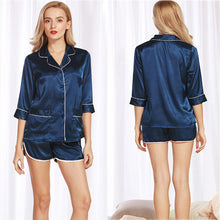 Navy Blue Silk Satin 3/4 Sleeves Short Pajama Set