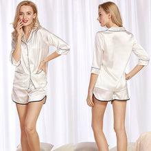 Ivory White Silk Satin 3/4 Sleeves Short Pajama Set