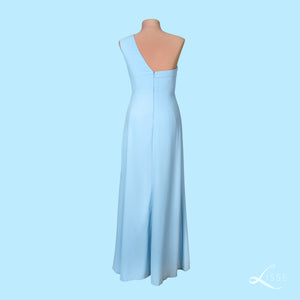 Sky blue A-line high-low asymmetrical dress with front slit