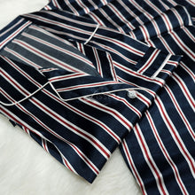 satin pajama sets with white navy red stripes