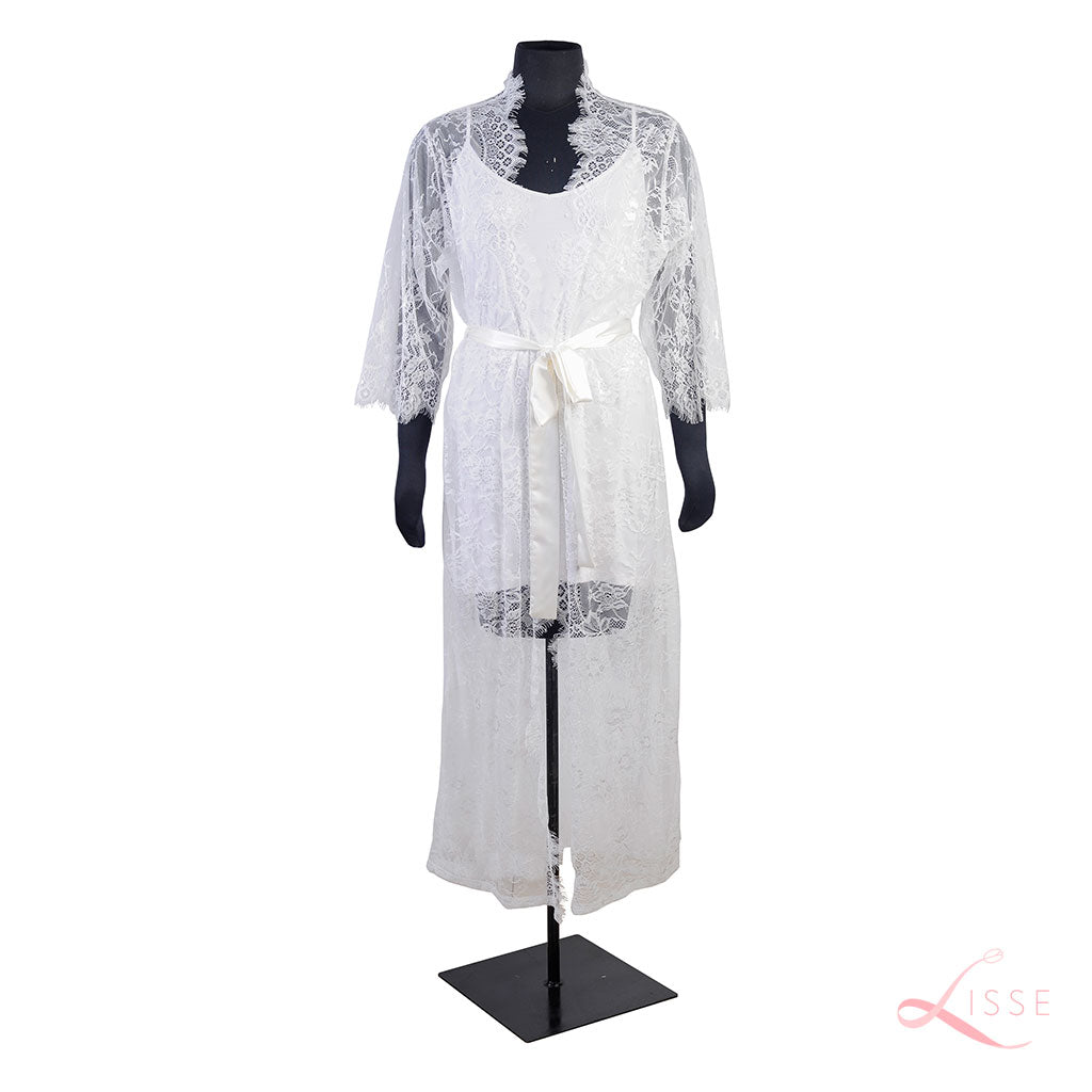 white lace bridal robe with chemise inner wear