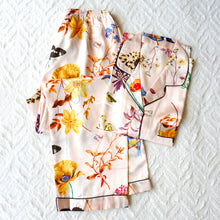 Silk Satin Long Sleeves Pajama Set with Flower bird butterfly print