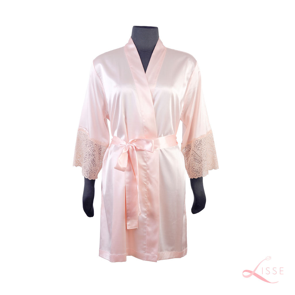 Blush Classic Robe with Lace Trim