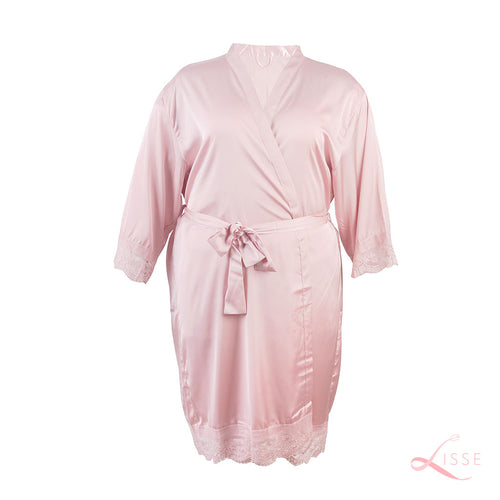 Blush Classic Robe with Lace Trim (Plus Size)