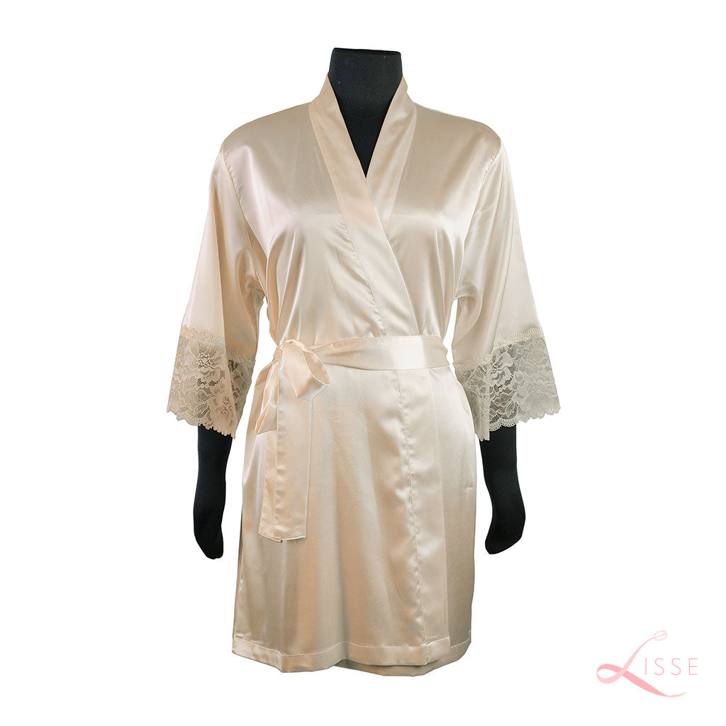 Champagne Classic Robe with Lace Trim