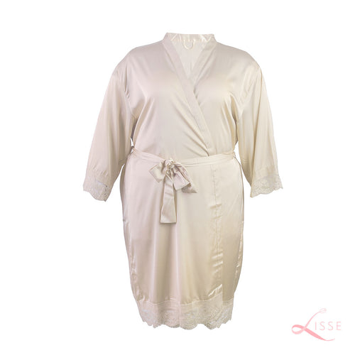 Champagne Classic Robe with Lace Trim (Plus Size)