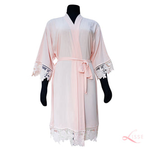 Pink Rayon Cotton Robe with Detailed Floral Lace Trim