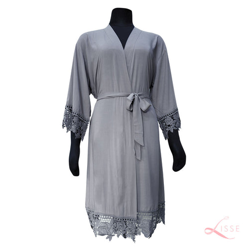 Gray Rayon Cotton Robe with Detailed Floral Lace Trim