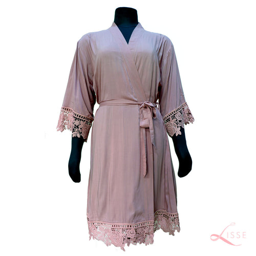 Mauve Rayon Cotton Robe with Detailed Floral Lace Trim