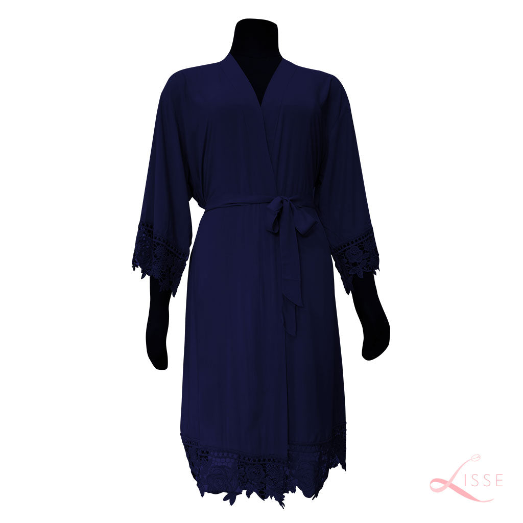 Navy Blue Rayon Cotton Robe with Detailed Floral Lace Trim