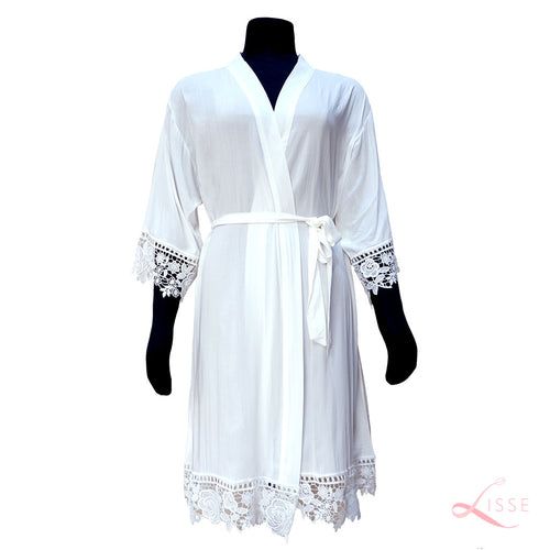 White Rayon Cotton Robe with Detailed Floral Lace Trim
