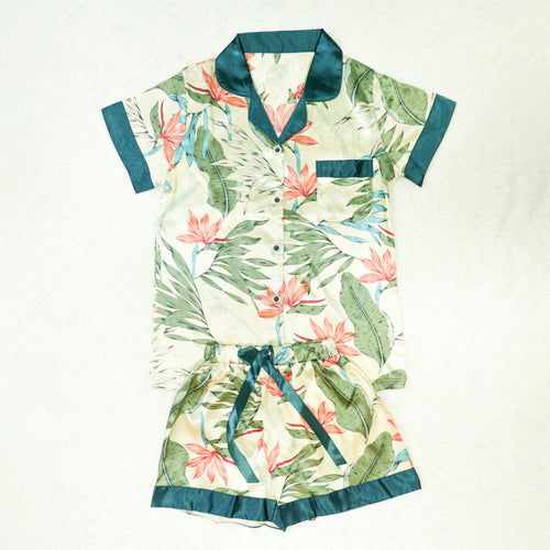 Teal Tropics Short Pajama Set
