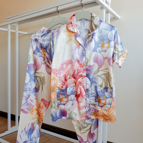 Colorful Big Blooms Short Sleeves Pajama Set