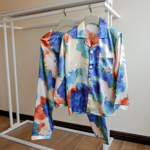 Watercolor Long Sleeves Pajama Set (His)