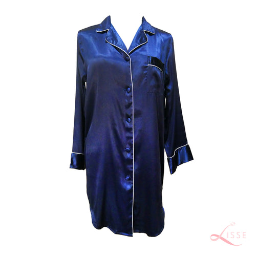 Silk Satin Long Sleeves Pajama Shirt Dress Blue