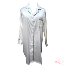 Silk Satin Long Sleeves Pajama Shirt Dress Pearl White