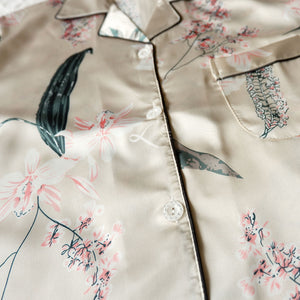Silk Satin Short Pajama Set with Orchids and Leaves Print