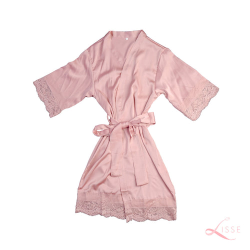 French Rose Classic Robe with Lace Trim (Kids)