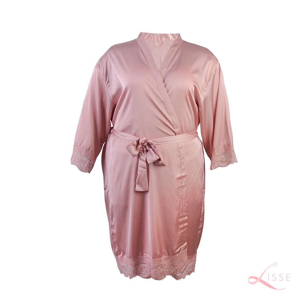 French Rose Classic Robe with Lace Trim (Plus Size)