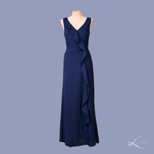 navy blue V-neck sleeveless dress with ruffle details and side slit