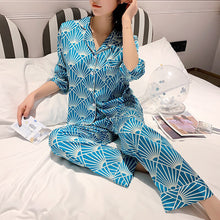 Turquoise Silk Satin Long Sleeves Pajama Set with Geometric Print