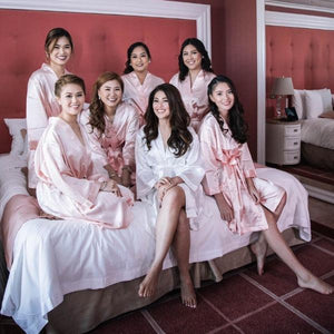 Peach Silk Robe Bridesmaids