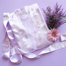 Lavender Silk Robe with Flowers Flatlay