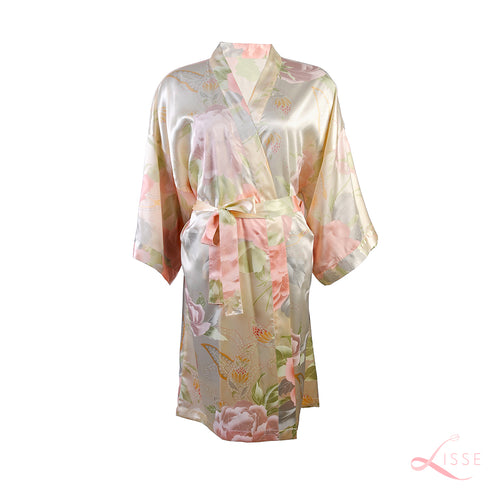 Champagne Kimono with Light Floral Print