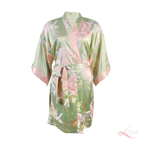 Olive Green Floral Bridal Silk Robe