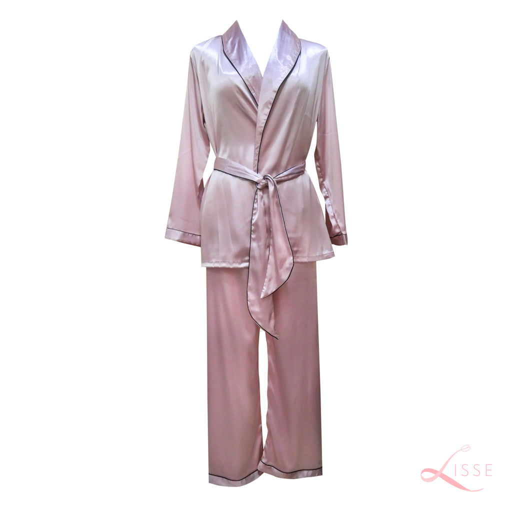 Silk Satin Long Sleeves Pajama Set Blush Pink