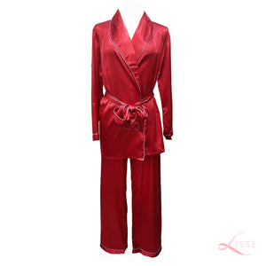 Silk Satin Long Sleeves Pajama Set Ruby Red