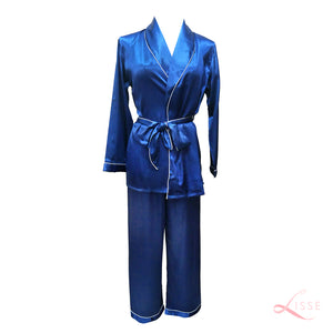 Silk Satin Long Sleeves Pajama Set Royal Blue