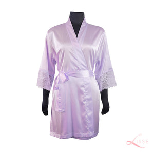 Lavender Classic Robe with Lace Trim