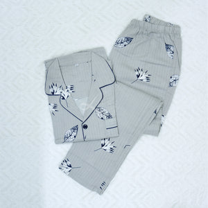 Leaves Long-Sleeved Cotton Pajama Set (His)