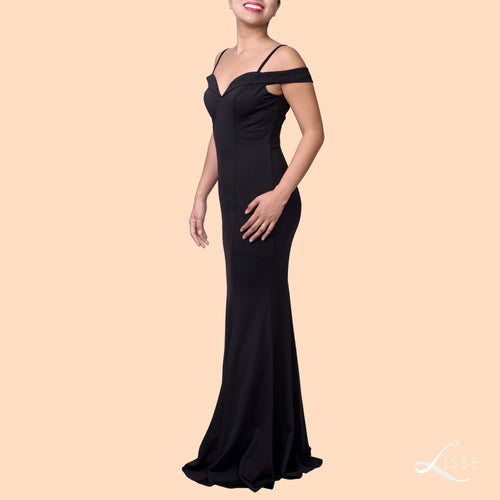 Black sweetheart cold-shoulder style evening dress