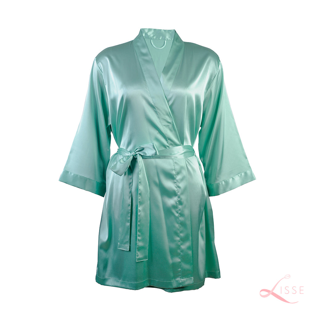 Mint Green Silk Bridal Robe