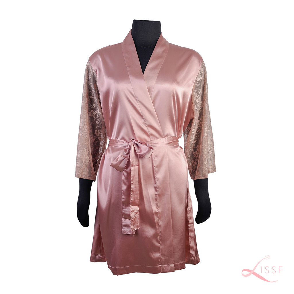 Old Rose Classic Robe with Lace Sleeves