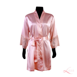 Old Rose Classic Robe with Lace Trim
