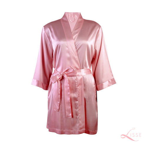 Old Rose Silk Bridal Robe for wedding