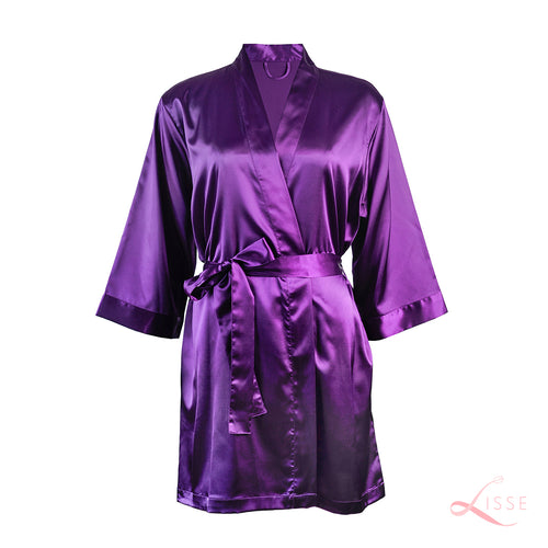 Orchid Classic Robe with Lace Trim