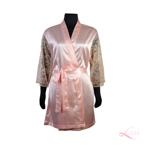 Peach Classic Robe with Lace Sleeves