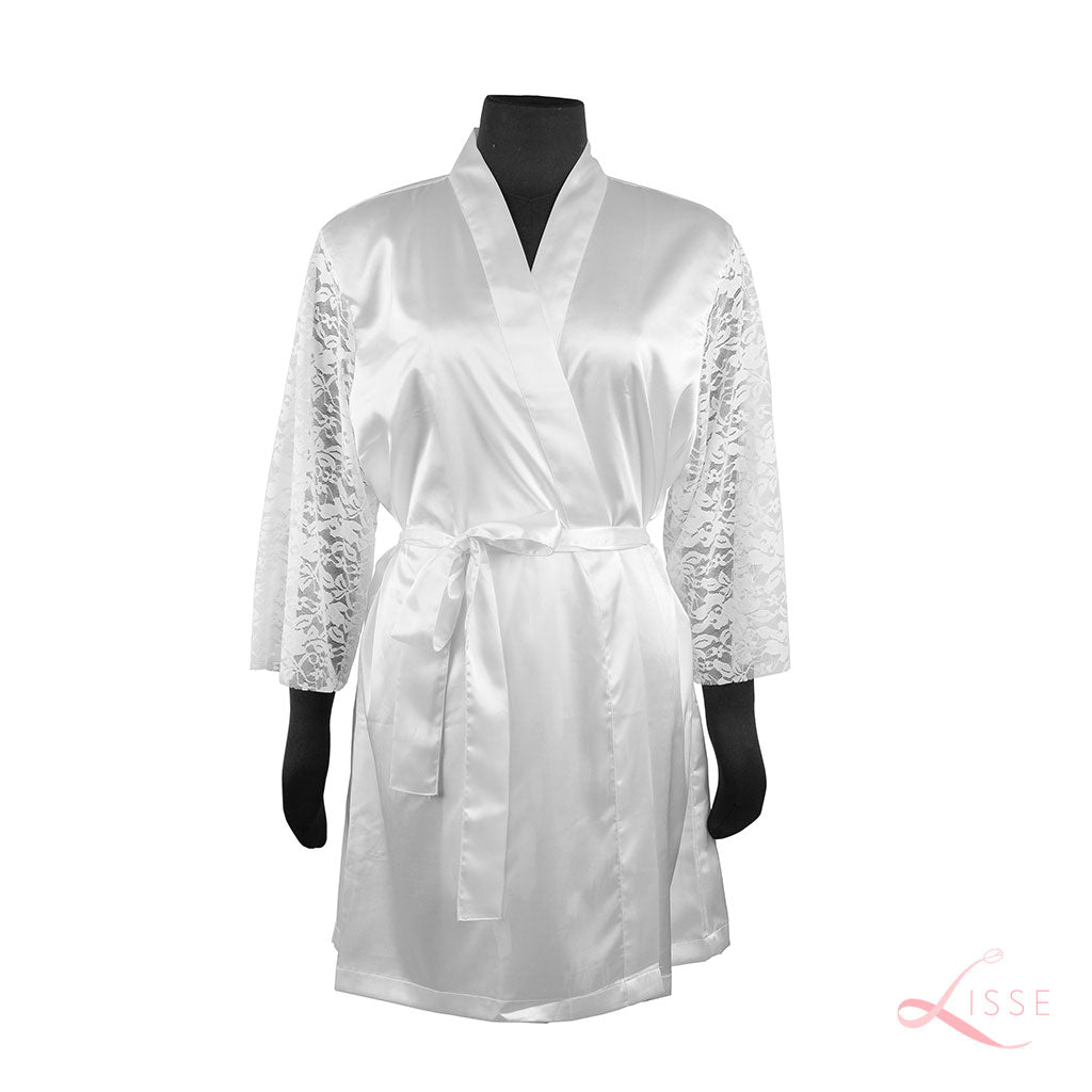 Pearl Classic Robe with Lace Sleeves