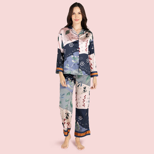 Patchwork Long-Sleeved Pajama Set