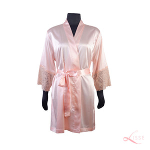 Peach Classic Robe with Lace Trim