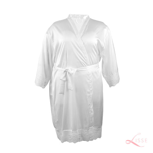 Pearl Classic Robe with Lace Trim (Plus Size)