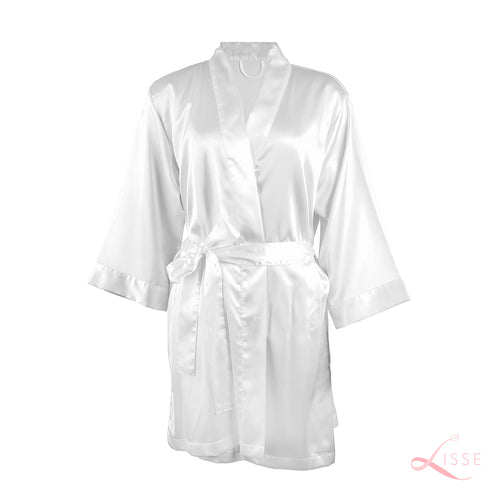 white silk satin bridesmaid robes for wedding