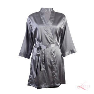 Pebble Gray Silver Silk Robe