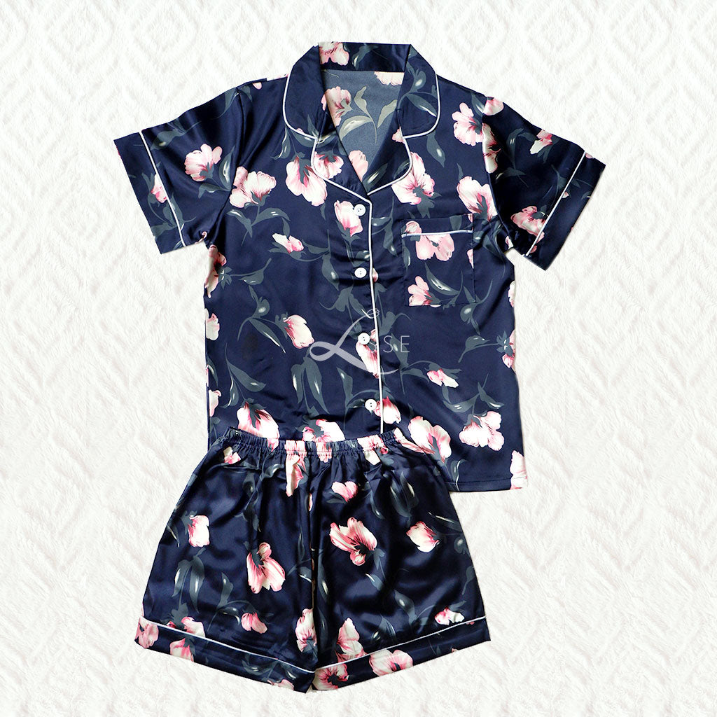 Silk Satin Short Pajama Set with Pink Floral Print
