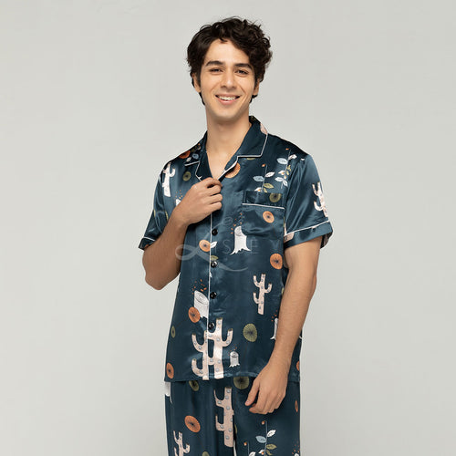 Quirky Forest Short Sleeves Pajama Set (His)